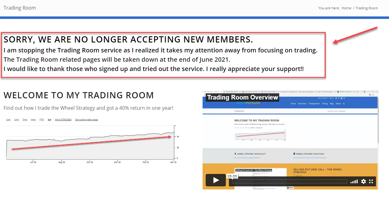sorry trading room message